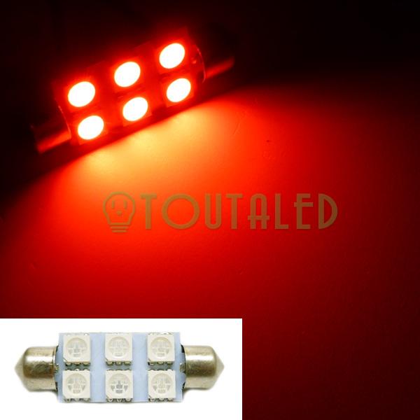 ampoule 12v navette c10w 42mm 6 led 5050 rouge toutaled eclairage led t l phonie audio vid o. Black Bedroom Furniture Sets. Home Design Ideas