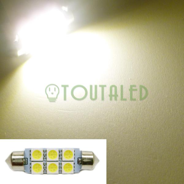 ampoule 12v navette c10w 42mm 6 led 5050 blanc chaud toutaled eclairage led t l phonie audio. Black Bedroom Furniture Sets. Home Design Ideas