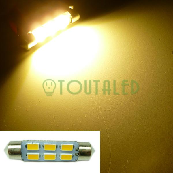 ampoule 12v navette c10w 42mm 6 led 5630 blanc chaud toutaled eclairage led t l phonie audio. Black Bedroom Furniture Sets. Home Design Ideas