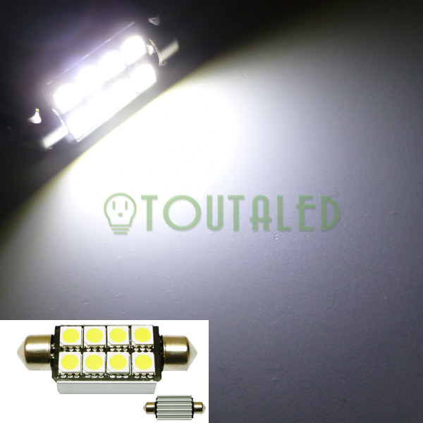 ampoule 12v navette c10w 42mm 8 led 5050 anti erreur toutaled eclairage led t l phonie audio. Black Bedroom Furniture Sets. Home Design Ideas